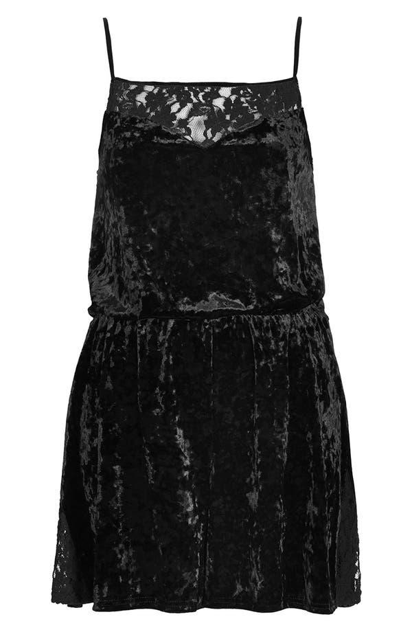 Alternate Image 3  - Topshop Lace Trim Velvet Romper