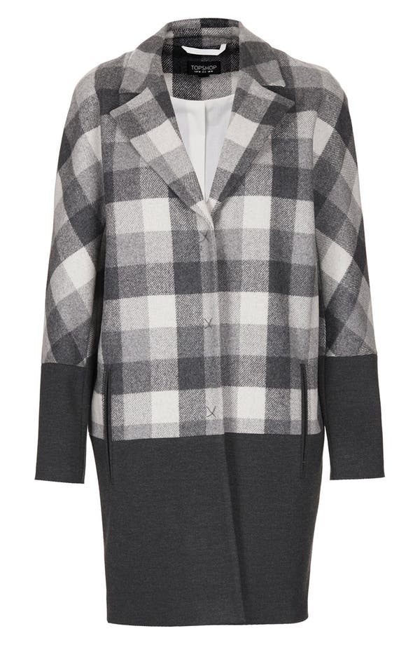 Alternate Image 3  - Topshop Contrast Trim Check Boyfriend Coat