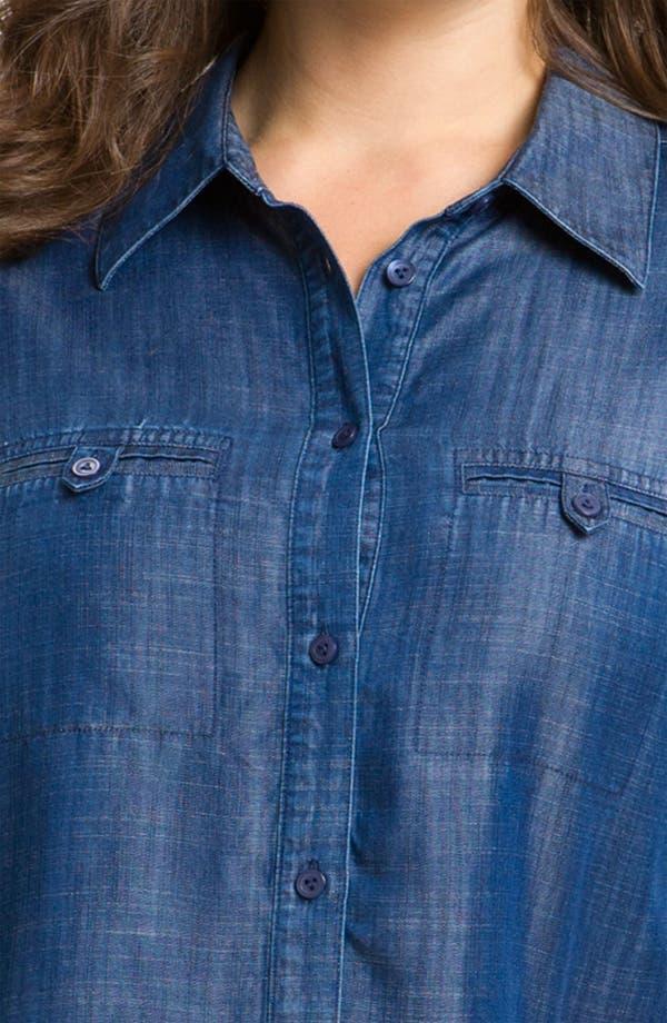 Alternate Image 3  - Foxcroft Roll Sleeve Denim Shirt (Plus Size)