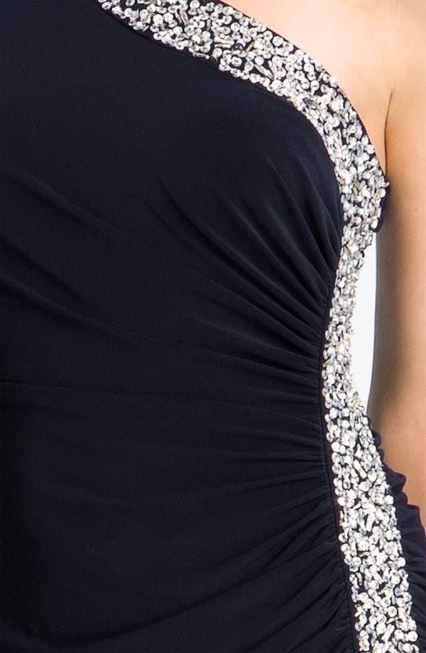 Alternate Image 3  - Betsy & Adam Embellished Trim One Shoulder Jersey Gown