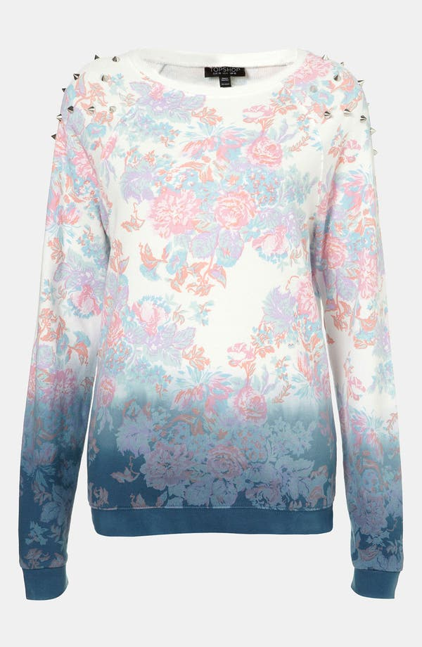 Main Image - Topshop Dip Dye Floral Studded Sweatshirt