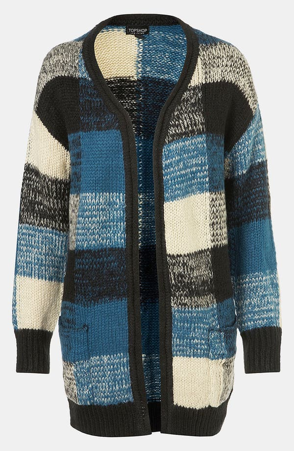 Main Image - Topshop Oversized Plaid Cardigan
