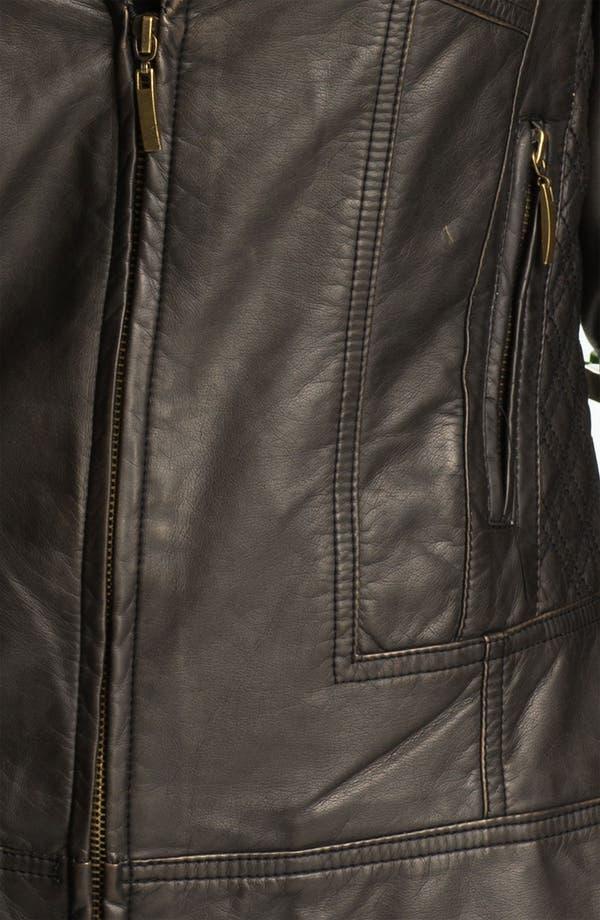 Alternate Image 3  - Conrad C Collection Quilt Trim Faux Leather Jacket