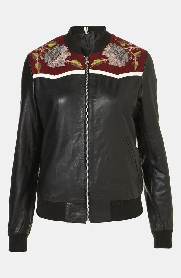 Main Image - Topshop 'Clive' Embroidered Leather Bomber Jacket
