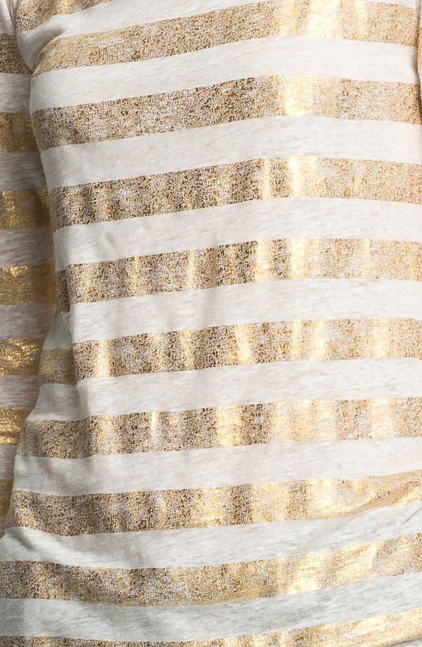 Alternate Image 3  - Alice + Olivia 'Dali Extra' Metallic Stripe Linen Tee
