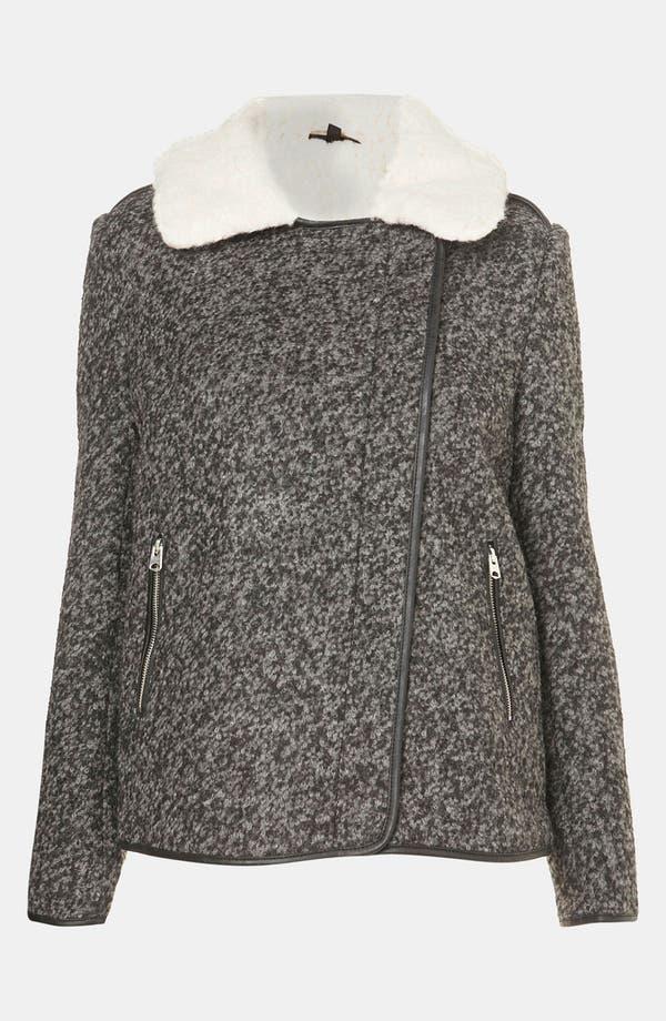 Alternate Image 4  - Topshop Textured Wool Biker Jacket