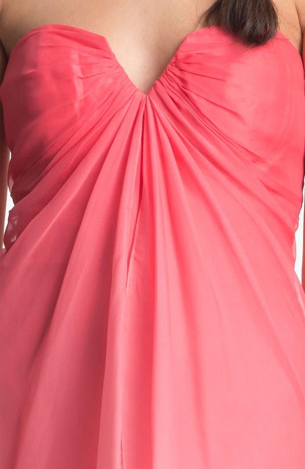 Alternate Image 3  - La Femme Ombré Strapless High/Low Chiffon Gown