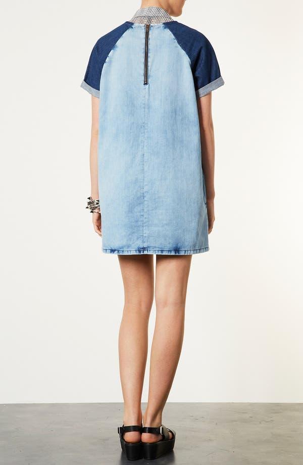 Alternate Image 2  - Topshop Contrast Sleeve Denim Dress