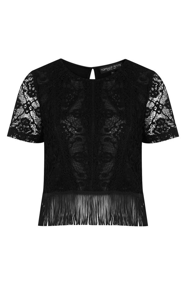 Main Image - Topshop Fringed Lace Top (Petite)