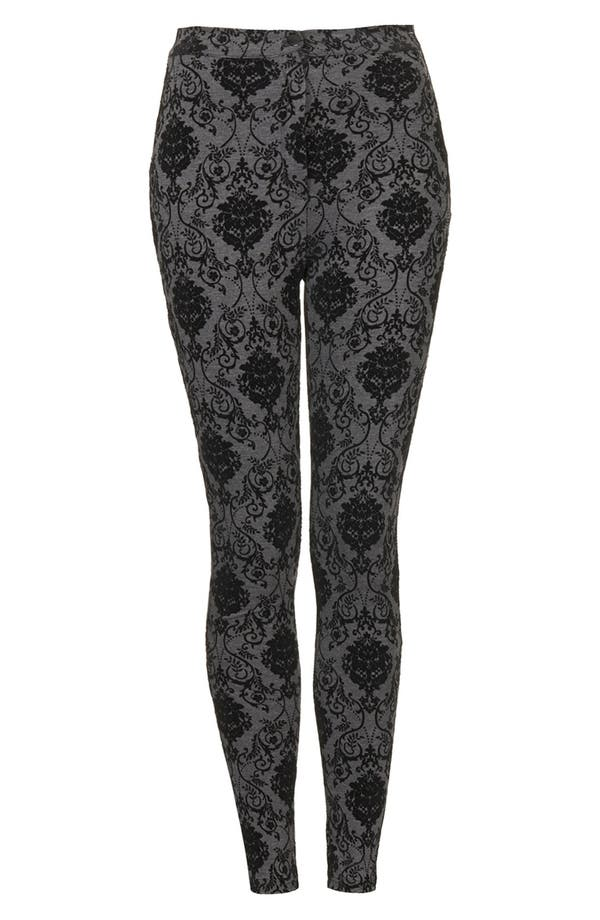 Alternate Image 3  - Topshop High Waist Damask Flocked Leggings