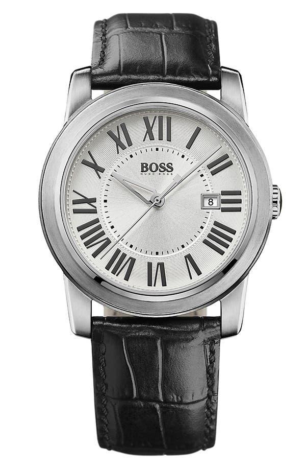 Main Image - BOSS HUGO BOSS Roman Numeral Leather Strap Watch, 40mm