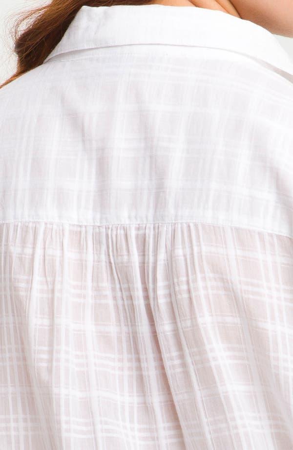 Alternate Image 3  - Sandra Ingrish Roll Sleeve Shadow Plaid Shirt (Plus)