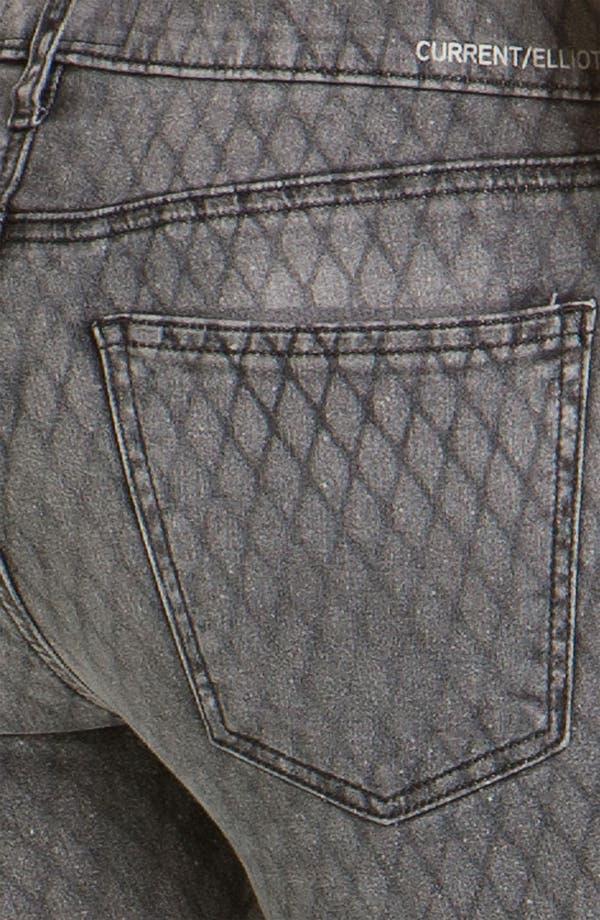 Alternate Image 3  - Current/Elliott Print Stretch Skinny Jeans (Fishnet)