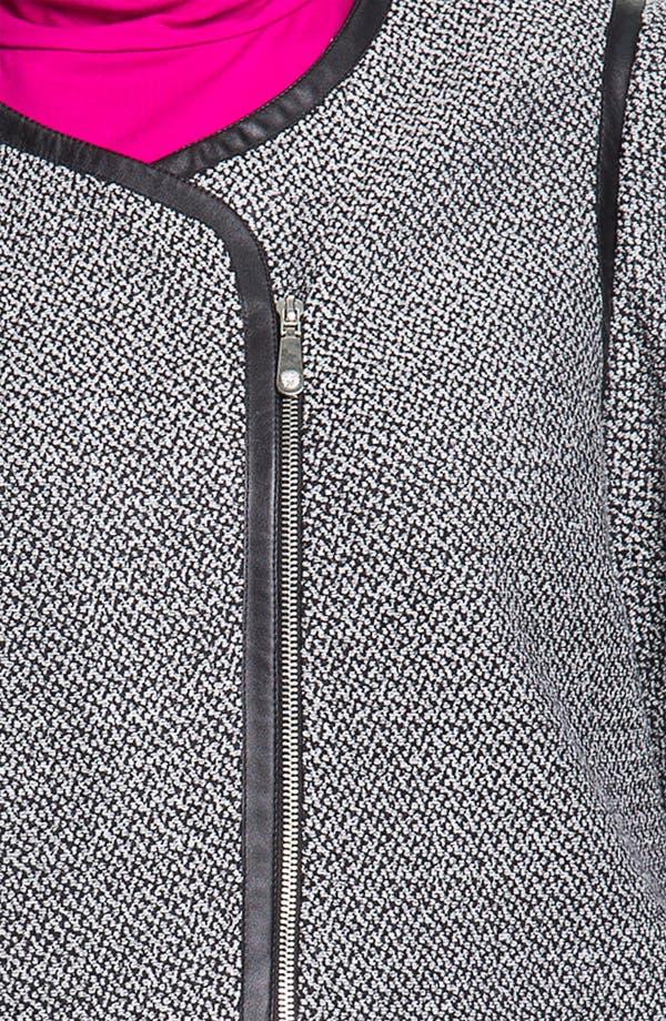 Alternate Image 3  - Vince Camuto Faux Leather Trim Tweed Jacket (Plus)