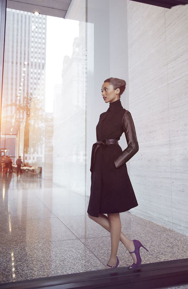 Alternate Image 5  - Dawn Levy 'Minka' Wool & Leather Coat