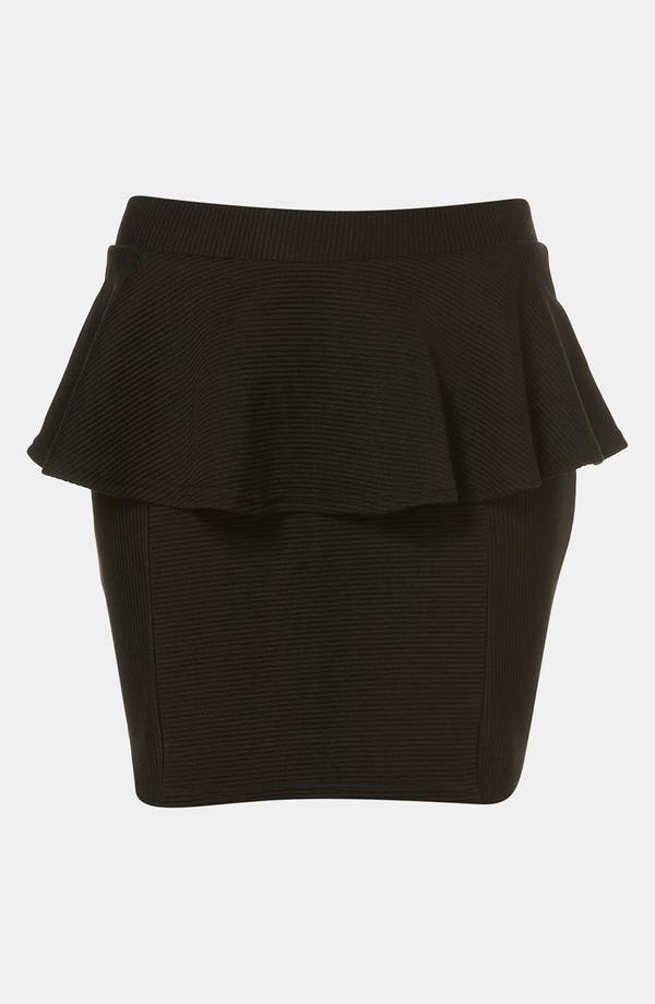 Alternate Image 1 Selected - Topshop Ribbed Peplum Miniskirt