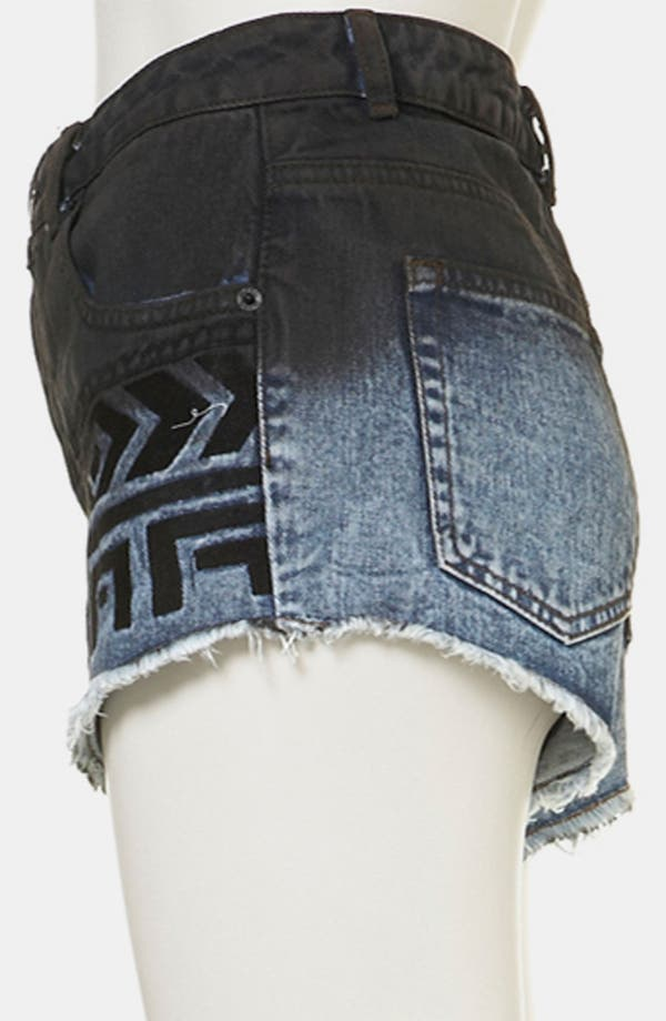 Alternate Image 4  - Topshop Moto Embroidered Dip Dye Denim Shorts