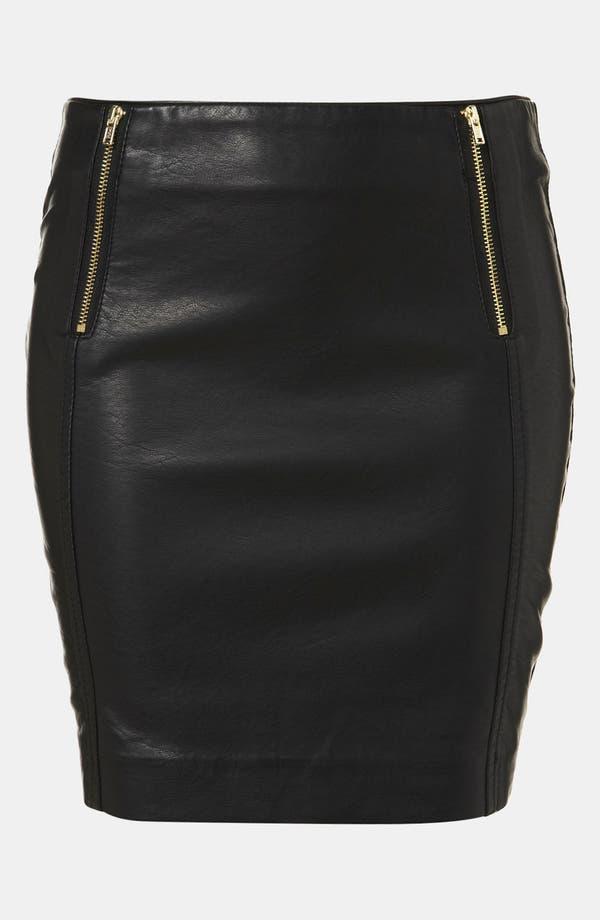 Main Image - Topshop Faux Leather Miniskirt