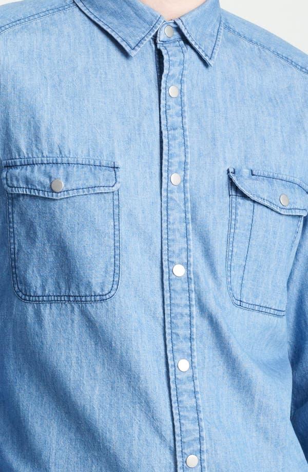 Alternate Image 3  - Topman Long Sleeve Denim Shirt