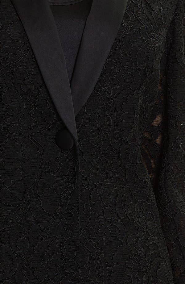 Alternate Image 3  - Aidan Mattox Satin Lapel Lace Blazer (Online Only)
