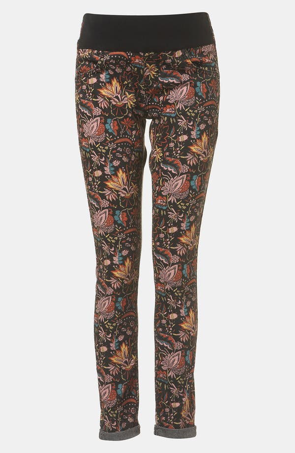 Main Image - Topshop 'Leigh - Scandi Floral' Skinny Maternity Jeans