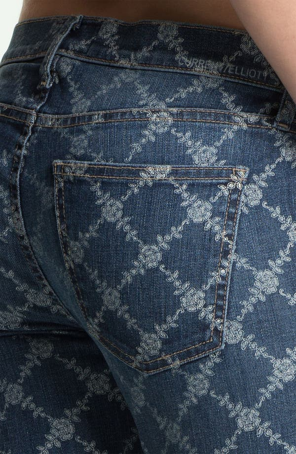 Alternate Image 3  - Current/Elliott 'The Rolled' Print Stretch Jeans (Indigo Rose Lattice)