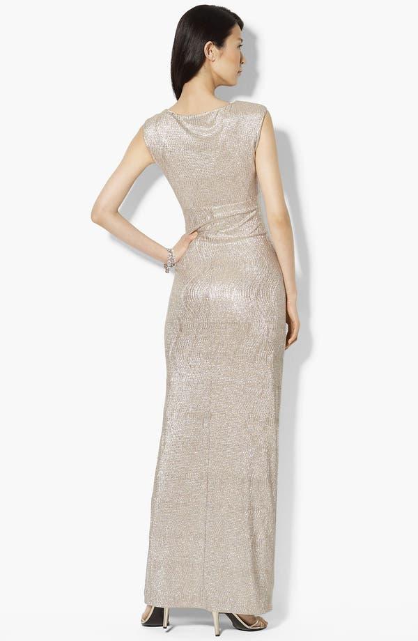 Alternate Image 2  - Lauren Ralph Lauren Metallic Cowl Neck Gown