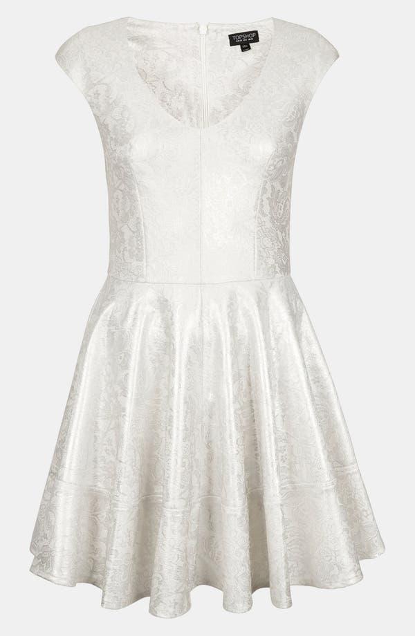 Alternate Image 3  - Topshop Metallic Lace Skater Dress