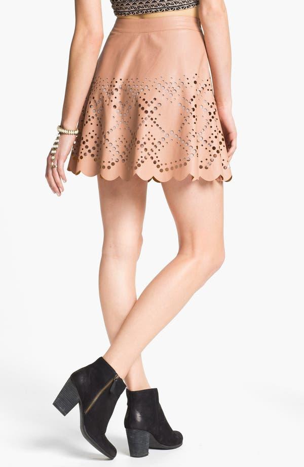 Alternate Image 2  - Blu Pepper Laser Cut Faux Leather Skirt (Juniors) (Online Exclusive)