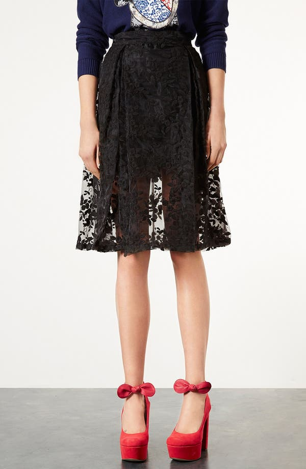 Alternate Image 1 Selected - Topshop Floral Embroidered Organza Skirt