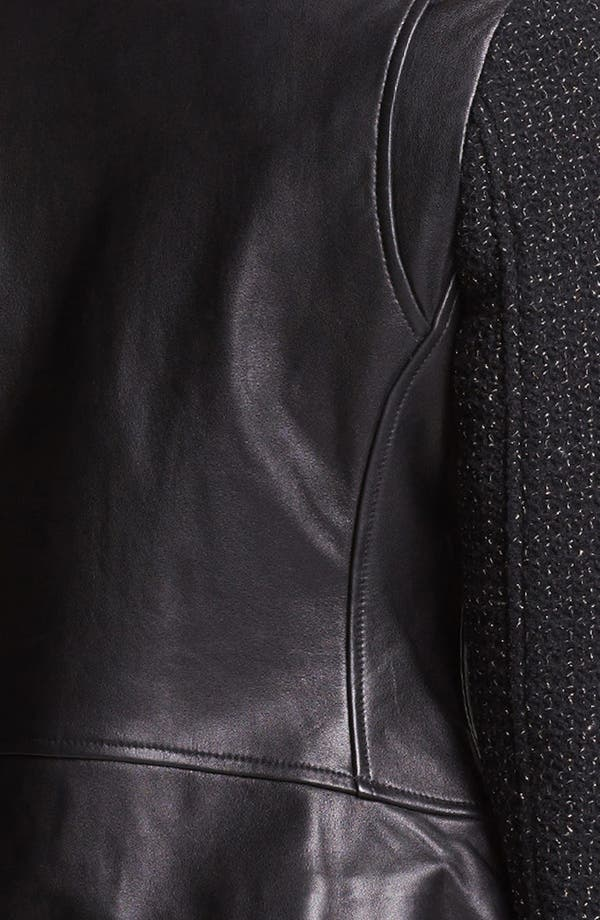 Alternate Image 3  - French Connection Leather & Metallic Tweed Moto Jacket