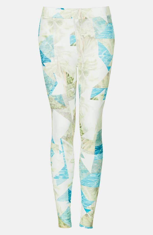 Alternate Image 4  - Topshop Palm Print Leggings