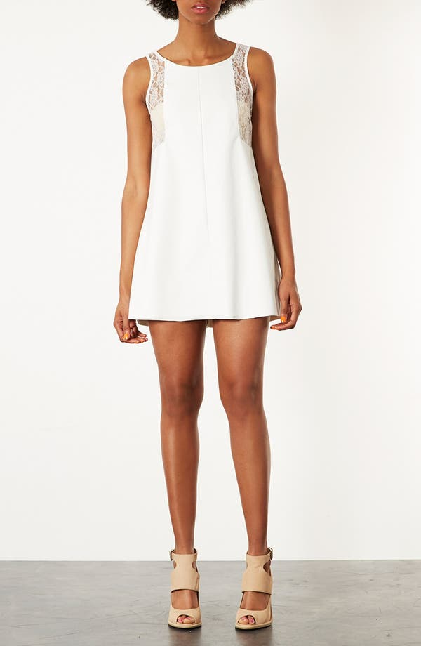 Main Image - Topshop Lace Trim Shift Dress
