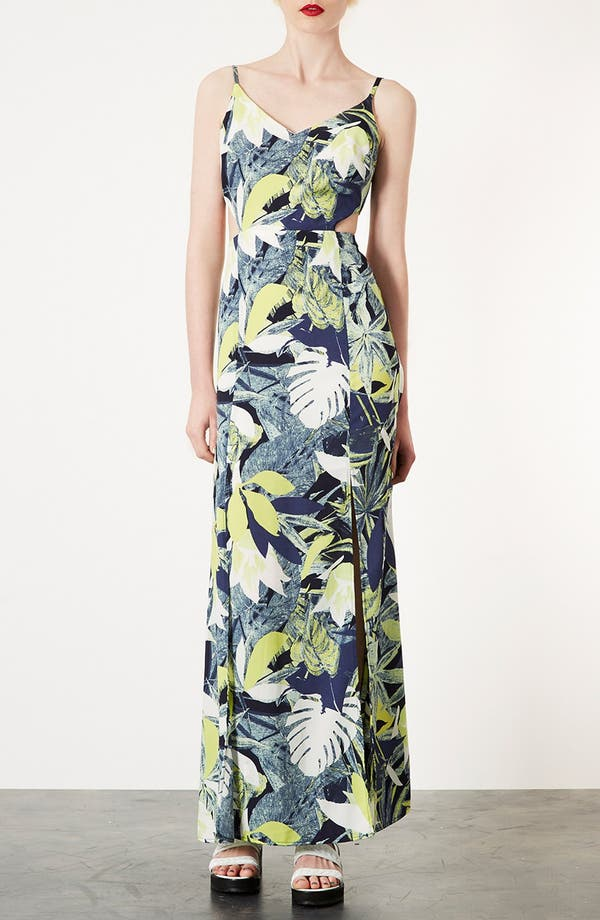 Alternate Image 1 Selected - Topshop Leaf Print Cutout Maxi Dress