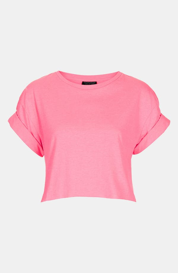 Alternate Image 3  - Topshop Fluorescent Roll Sleeve Tee