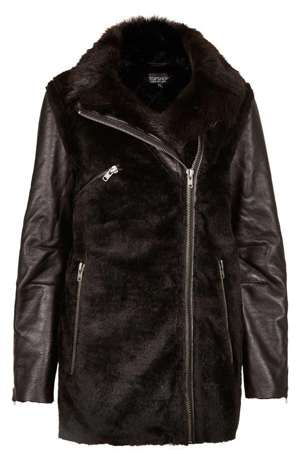 Alternate Image 3  - Topshop Faux Fur Biker Jacket