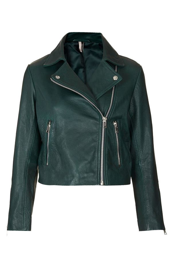 Alternate Image 3  - Topshop 'Caddy' Leather Moto Jacket