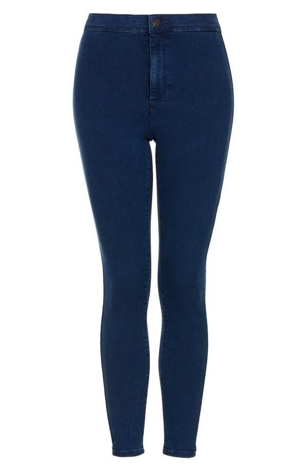 Main Image - Topshop Moto High Rise Skinny Jeans (Blue) (Petite)