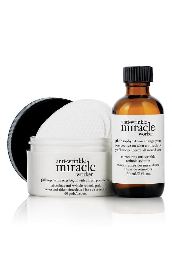 Alternate Image 1 Selected - philosophy 'anti-wrinkle miracle worker' retinoid pads & elixir