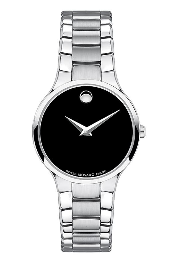 Alternate Image 1 Selected - Movado 'Serio' Black Dial Bracelet Watch