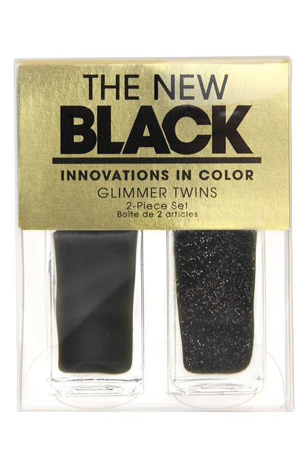 Alternate Image 2  - THE NEW BLACK 'Black Ice Glimmer 'Nail Polish Duo