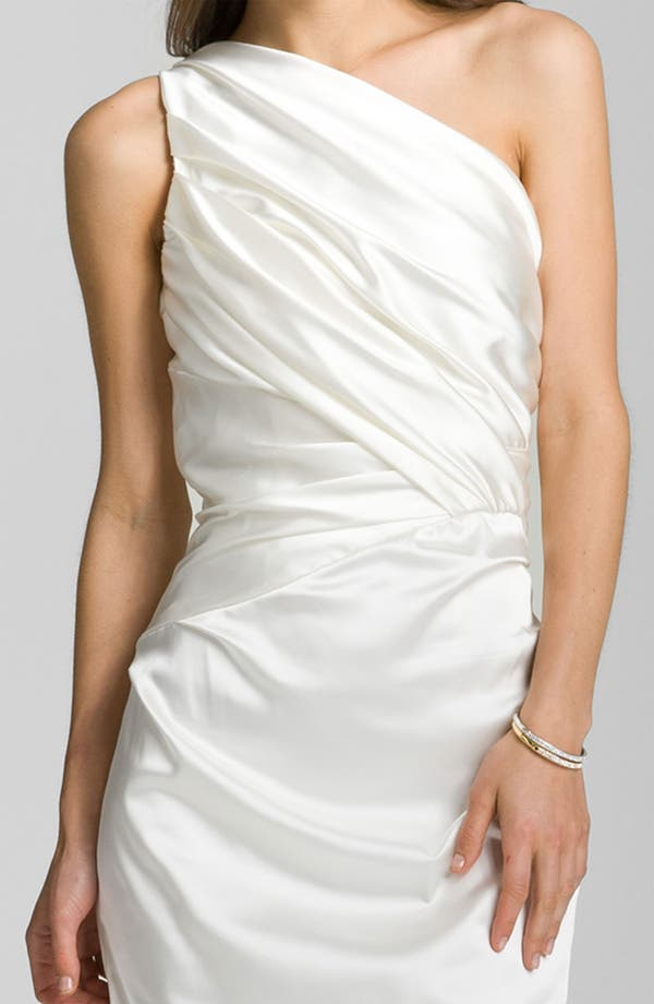Alternate Image 3  - Suzi Chin for Maggy Boutique One Shoulder Ruched Satin Sheath Dress