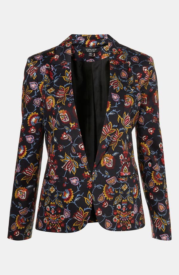 Main Image - Topshop Tapestry Print Open Front Blazer