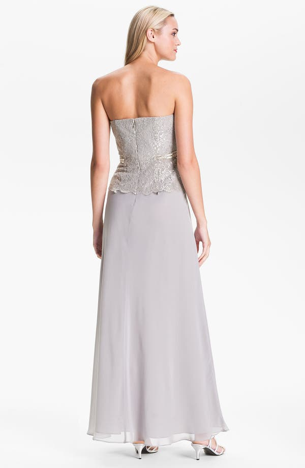 Alternate Image 2  - Calvin Klein Strapless Metallic Lace & Chiffon Gown