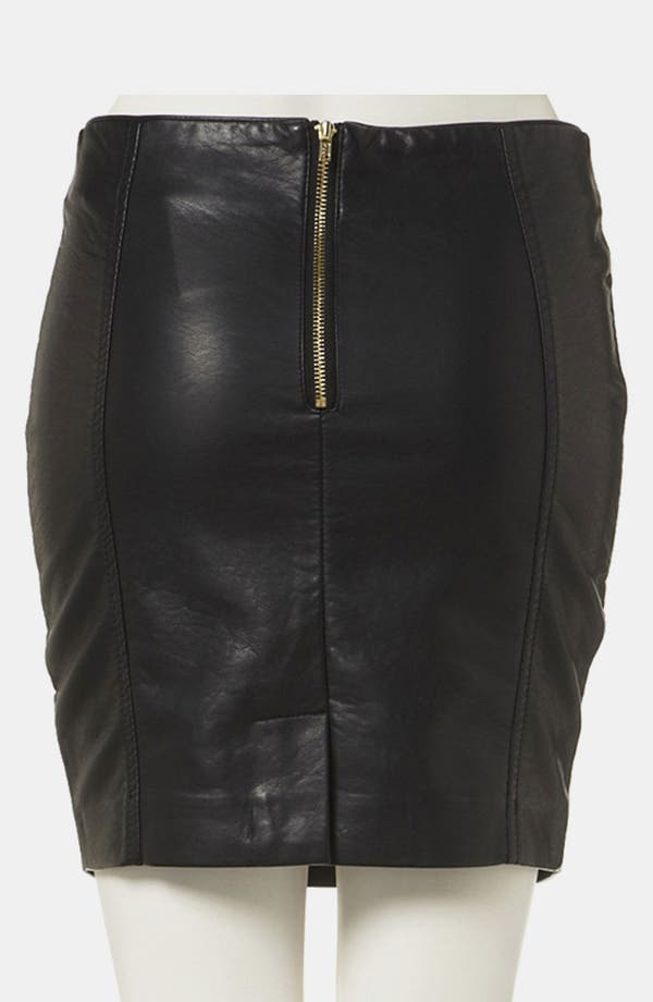 Alternate Image 2  - Topshop Faux Leather Miniskirt