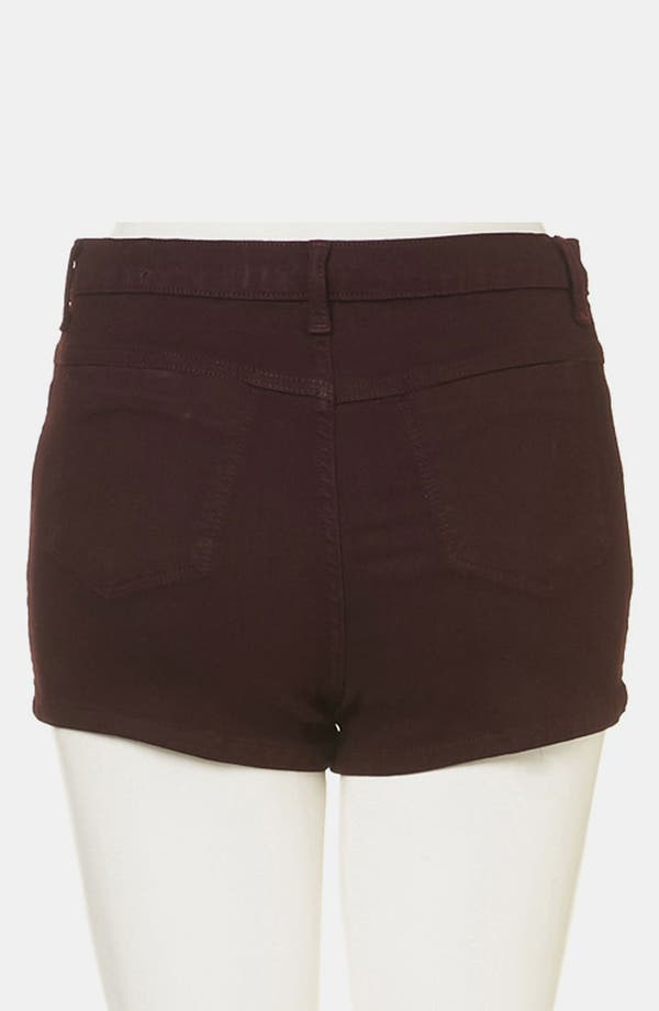 Alternate Image 2  - Topshop Moto 'Suri' Denim Hot Pants (Burgundy)