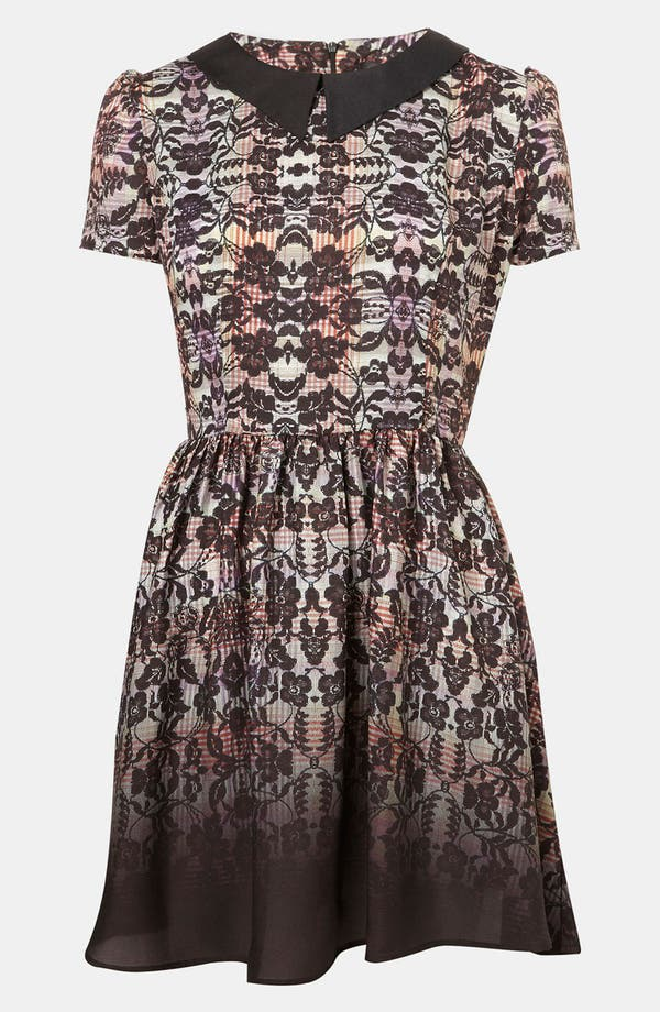 Alternate Image 1 Selected - Topshop 'Florence' Lace Plaid Dress