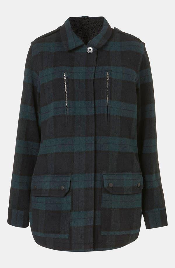 Alternate Image 1 Selected - Topshop Plaid Utility Jacket