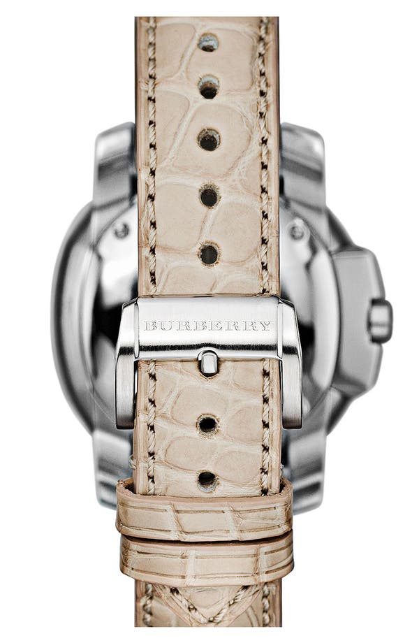 Alternate Image 4  - Burberry The Britain Diamond Bezel Alligator Strap Watch, 38mm