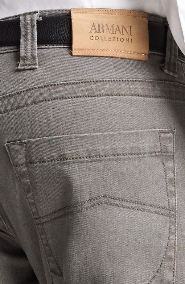 Alternate Image 4  - Armani Collezioni Slim Fit Jeans (Brown Multi)